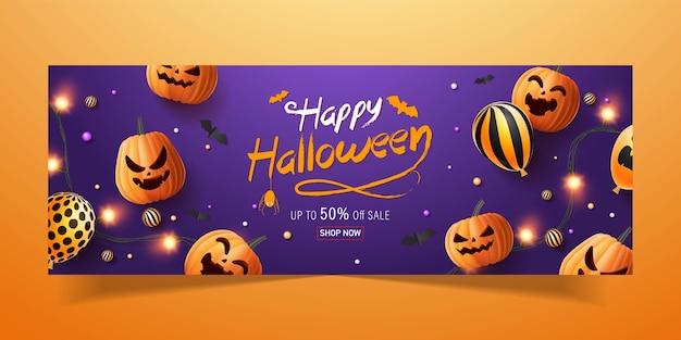 Bannière de base rgbhappy halloween, bannière de promotion de vente avec des bonbons d'halloween, des guirlandes lumineuses, des ballons et des citrouilles d'halloween. illustration 3d