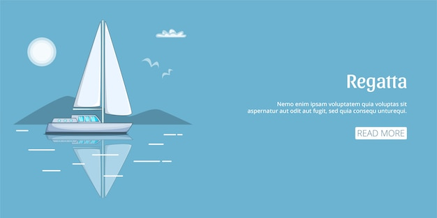 Bannière de bateau de régate horizontale, style cartoon
