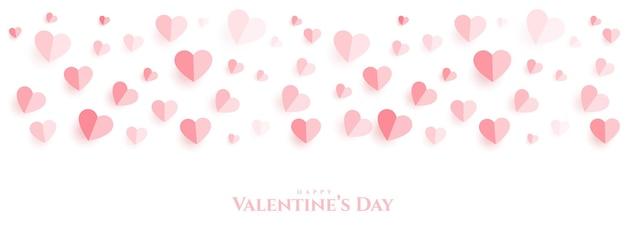 Bannière de beau papier coeurs joyeux saint valentin