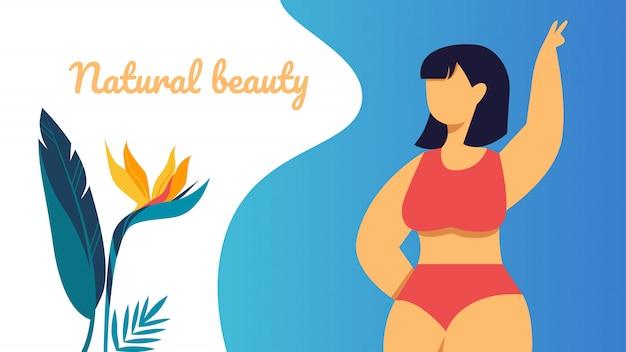 Bannière de beauté naturelle, fille asiatique heureuse de taille plus