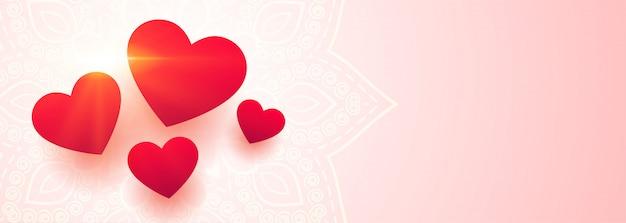 Bannière de beaux coeurs d'amour avec espace de texte