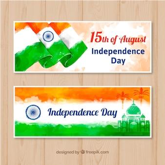 Bannière de belle journée inde indépendance vente dans un style aquarelle