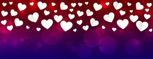 Bannière belle saint valentin avec motif coeurs