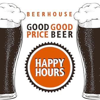 Bannière de bière happy hours.