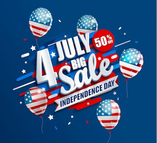 Bannière big sale pour le jour de l'indépendance, le 4 juillet aux états-unis