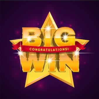 Bannière big win avec ruban pour casino en ligne, poker, roulette, machines à sous, jeux de cartes