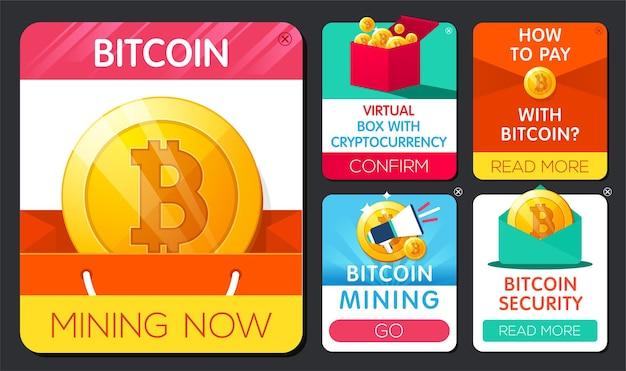 Bannière bitcoin sertie de pièce d'or avec symbole bitcoin