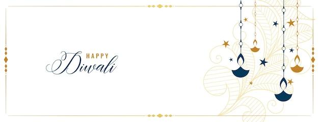 Bannière blanche diwali heureux avec décoration diya et étoiles