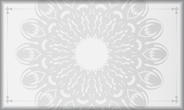 Bannière blanche avec ornements de mandala et place pour votre logo. modèle d'arrière-plan de conception imprimable avec des motifs noirs.