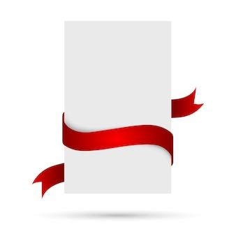 Bannière blanche avec ruban rouge. illustration.