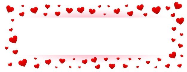 Bannière blanche de valentines avec cadre coeurs rouges