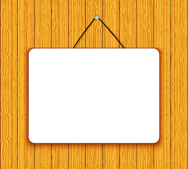 Bannière blanche vierge sur fond de bois