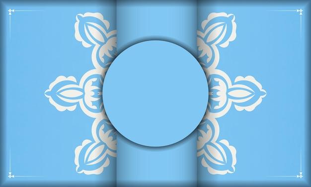 Bannière bleu clair avec motif blanc abstrait et espace pour le logo ou le texte