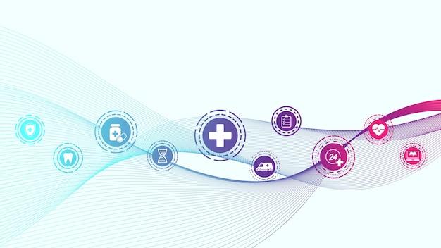 Bannière bleue abstraite médicale et scientifique de soins de santé