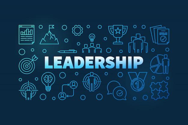 Bannière bleue de concept de leadership
