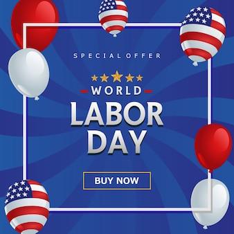 Bannière bleue sur la fête mondiale du travail.