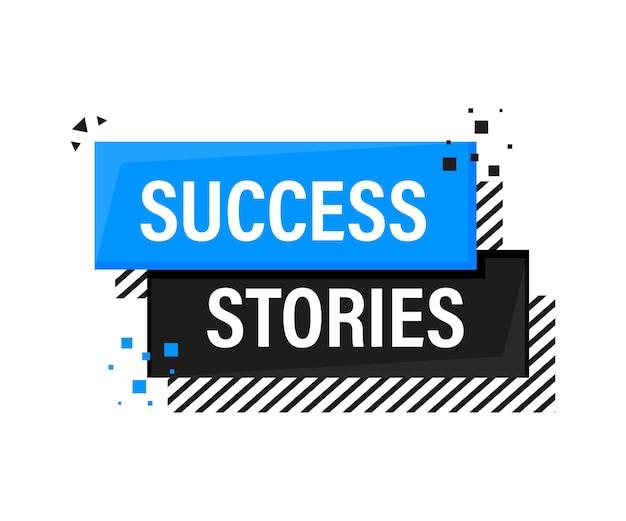 Bannière bleue de mégaphone d'histoires de réussite dans le style 3d sur le blanc