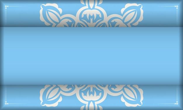 Bannière bleue avec motif blanc grec et espace pour le logo ou le texte