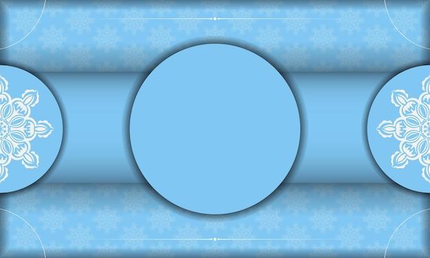 Bannière bleue avec motif blanc vintage et espace pour logo ou texte