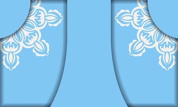 Bannière bleue avec ornements blancs vintage et espace pour le logo ou le texte