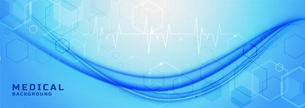Bannière bleue de soins de santé et médicaux avec vague