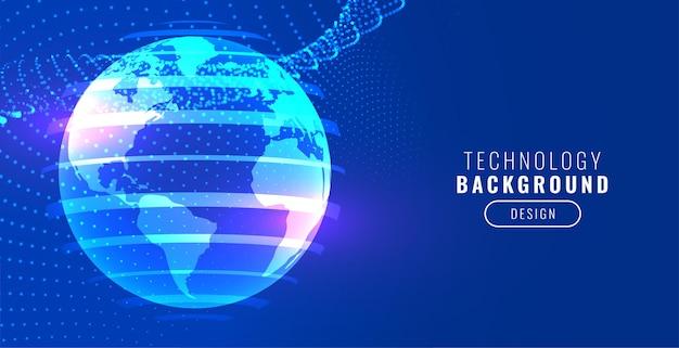 Bannière bleue de la terre de technologie avec des particules