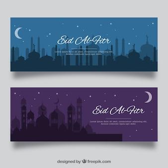 Bannière bleue et violette eid al fitr