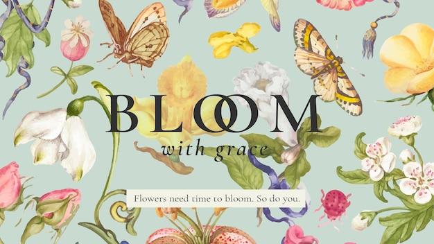 Bannière de blog vectoriel de beau modèle floral modifiable, remixée à partir d'œuvres d'art de pierre-joseph redouté