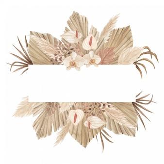 Bannière de bohème aquarelle avec des feuilles de palmier séchées, de l'herbe de pampa, du lis calla et des orchidées
