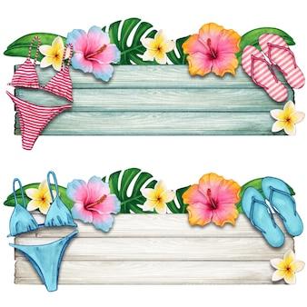 Bannière en bois d'été aquarelle avec des fleurs tropicales