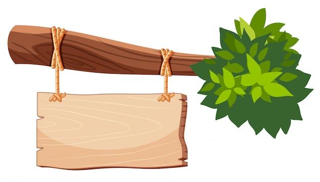 Bannière en bois isolée sur fond blanc
