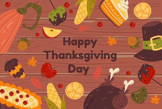 Bannière en bois de nourriture de thanksgiving avec tarte et illustration de conception graphique plate de pompage