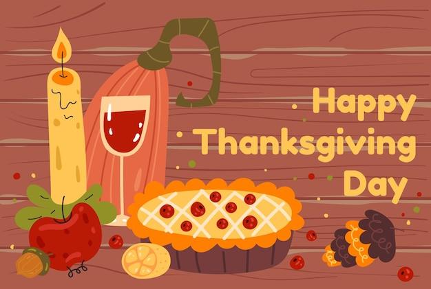 Bannière en bois de thanksgiving avec tarte et illustration de conception graphique plate de pompage