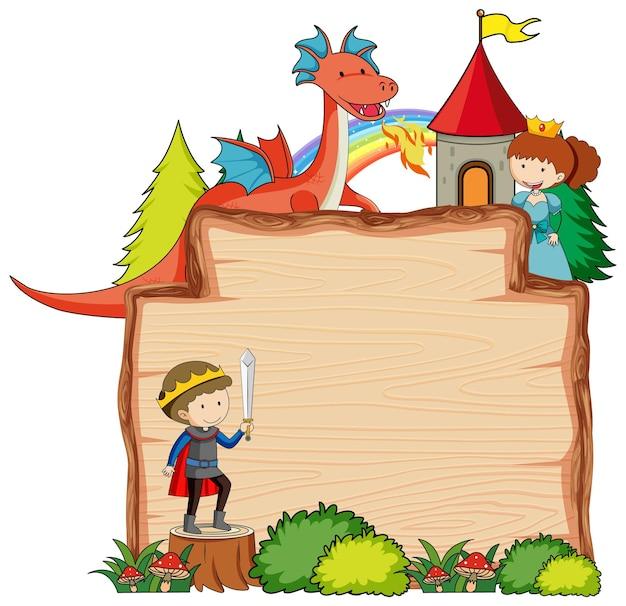 Bannière en bois vierge avec personnage de dessin animé fantastique isolé