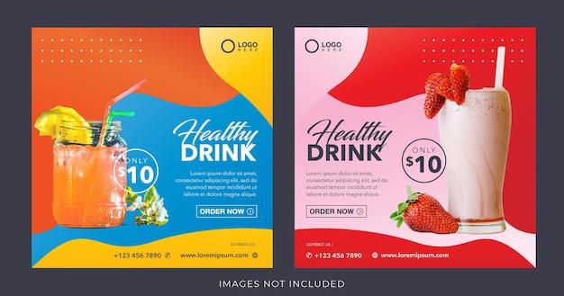Bannière de boisson de jus de fruits frais sain pour le modèle de publication de médias sociaux