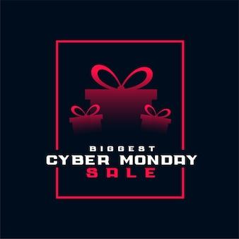 Bannière de boîte-cadeau élégante plus grande vente cyber lundi