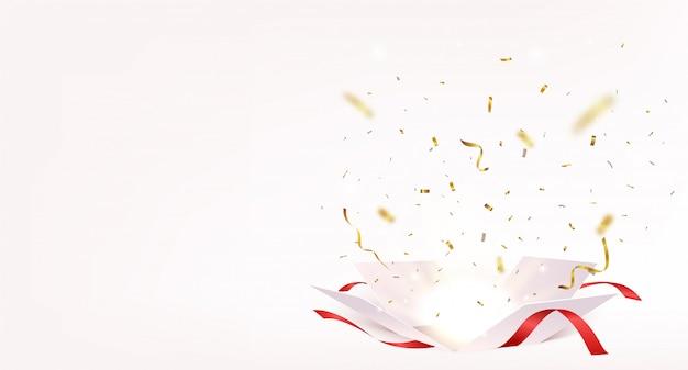 Bannière boîte ouverte avec des confettis or