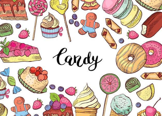 Bannière de bonbons colorés dessinés à la main