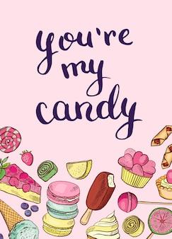 Bannière de bonbons dessinés à la main