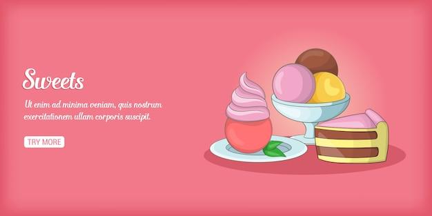 Bannière de bonbons horizontale, style cartoon