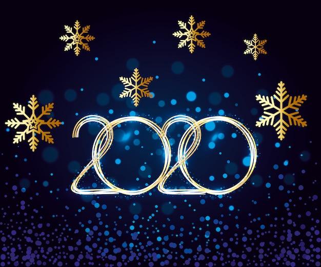 Bannière de bonne année 2020 avec des flocons de neige