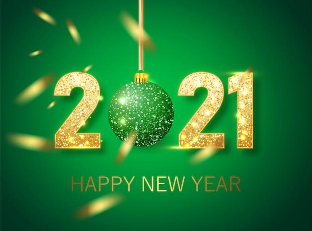 Bannière de bonne année 2021. texte de luxe vert doré 2021 bonne année. conception de numéros festifs d'or. bannière de bonne année avec numéros 2021