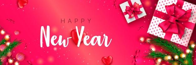 Bannière de bonne année 2022 concept de noël sur fond rose affiche de vacances de noël