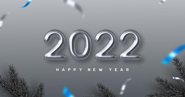 Bannière de bonne année 2022. main qui écrit des nombres métalliques 3d 2022 avec des branches de pin. fond monochrome avec contraste bleu. illustration vectorielle.