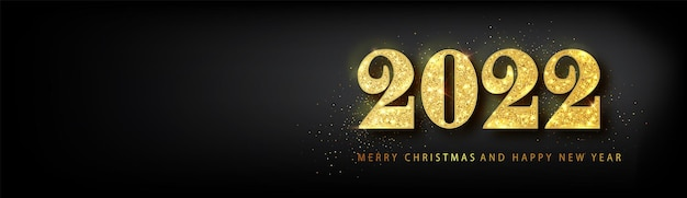 Bannière de bonne année 2022. texte de luxe golden vector 2022 bonne année. conception de numéros de fête d'or. bannière de bonne année avec numéros 2022.