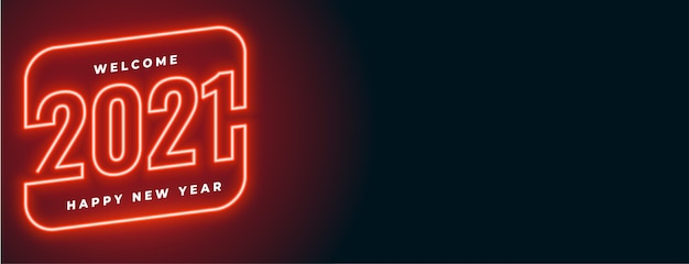 Bannière de bonne année style néon rouge