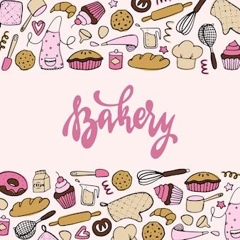 Bannière de boulangerie, affiche avec griffonnages