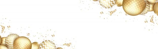Bannière avec des boules d'or de noël.
