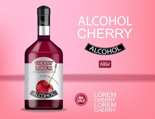 Bannière de bouteille d'alcool de cerise