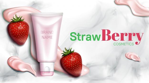 Bannière de bouteille de cosmétiques aux fraises